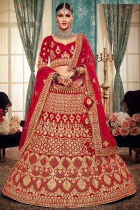 Red Velvet Bridal Lehenga Choli Online
