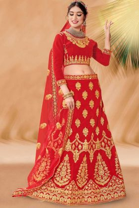 Red Velvet Bridal Lehenga Choli Red Color With Embroidery Work