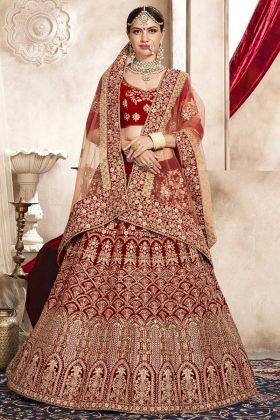 Red Velvet Wedding Bridal Lehenga Choli With Embroidery Work