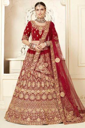Red Velvet Wedding Bridal Lehenga With Embroidery Work