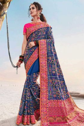 Refreshing Look Blue Color Shana Silk Traditional Saree