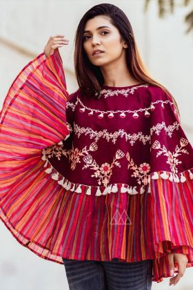 Refreshing Pink Color Embroidered Khadi Poncho