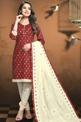Remarkable Patola Print Fabric Maroon Color Salwar Suit