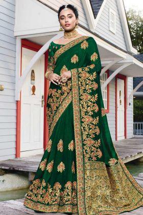 Resham Embroidery Dark Green Satin Silk Saree