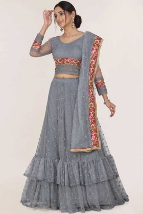 Resham Embroidery Grey Color Heavy Net Lehenga Choli
