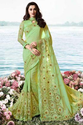 Resham Embroidery Light Green Pure Pandora Silk Saree