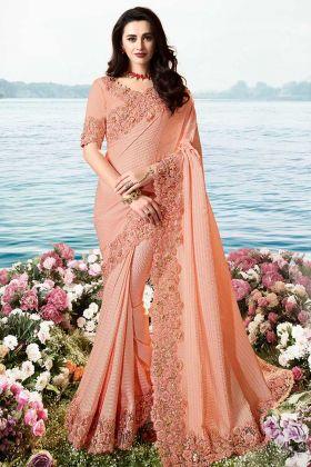 Resham Embroidery Light Peach Saree Design Frill Pure Pandora Silk