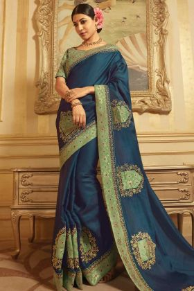 Resham Embroidery Work Raw Silk And Jacquard Navy Blue Saree