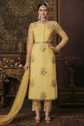 Resham Work Net Straight Cut Salwar Suit For Women
