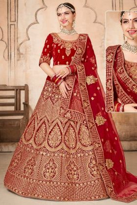 Resham Dhaga Work Velvet Red Lehenga Choli With Soft Mono Net Dupatta