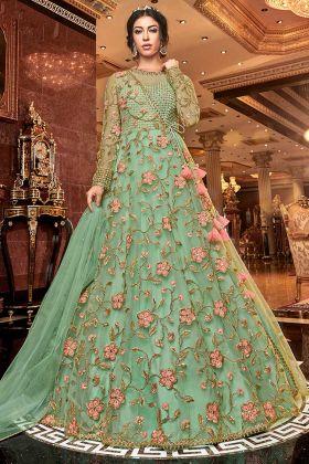 Resham Embroidered Work Light Green Net Anarkali Salwar Suit