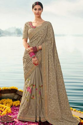 Resham Embroidery Beige Color Wedding Saree With Chinon Chiffon Blouse