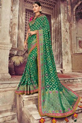 Resham Embroidery Dola Art Silk Green Saree