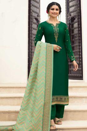 Resham Embroidery Green Pant Style Salwar Kameez