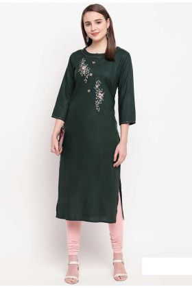 Resham Embroidery Rayon Pine Green Stitched Kurti For Girls