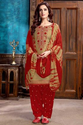 Resham Embroidery Work Beige Color Cotton Satin Patiala Salwar Kameez