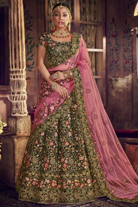 Resham Embroidery Work Bottle Green Velvet Designer Bridal Lehenga Choli