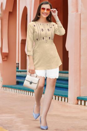 Resham Embroidery Work Cream Color Litchi Plain Fancy Tops