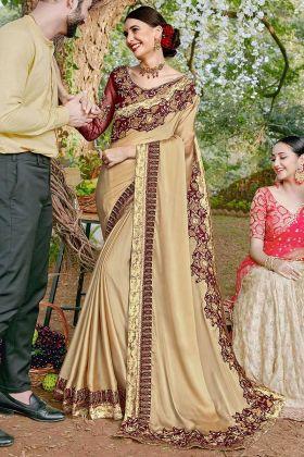 Resham Embroidery Work Cream Color Satin Georgette Designer Saree