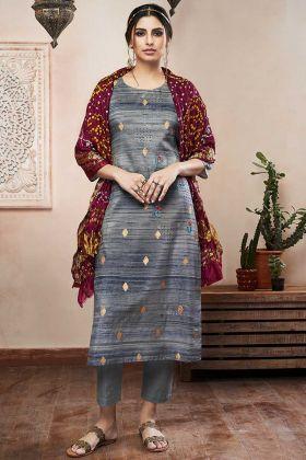 Resham Embroidery Work Dark Grey Color Art Silk Pant Style Salwar Kameez