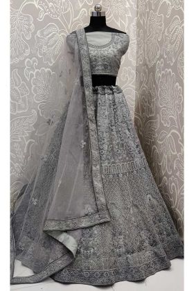 Resham Embroidery Work Grey Color Net Lehenga Choli