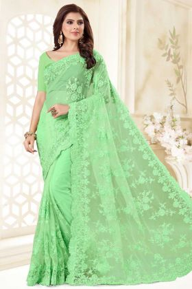 Resham Embroidery Work Light Green Color Net Party Wear Saree