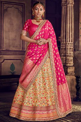 Resham Embroidery Work Light Yellow Color Pure Silk Wedding Bridal Lehenga Choli