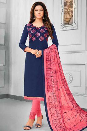 Resham Embroidery Work Navy Blue Color Cotton Straight Salwar Kameez