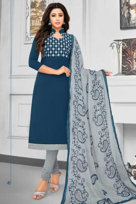 Resham Embroidery Work Navy Blue Color Cotton Straight Salwar Suit