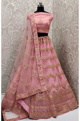 Resham Embroidery Work Net Pink Lehenga Choli