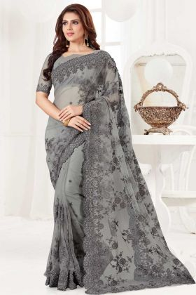 Resham Embroidery Work Net Saree In Grey Color