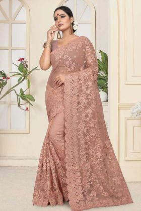 Resham Embroidery Work Net Wedding Saree In Dusty Peach Color