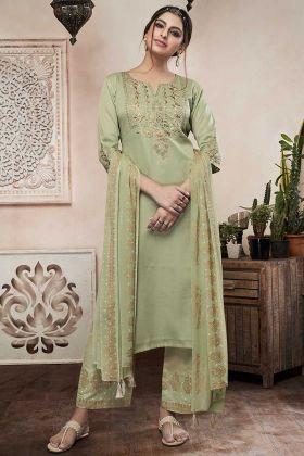 Resham Embroidery Work Pastel Green Color Satin Churidar Dress