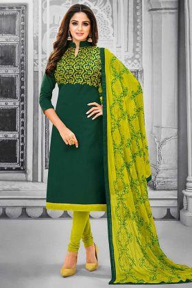 Resham Embroidery Work Pine Green Color Cotton Straight Salwar Kameez