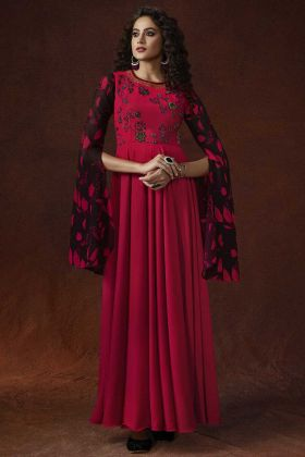 Resham Embroidery Work Pink Color Georgette Party Wear Gown