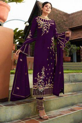 Resham Embroidery Work Purple Color Georgette Pant Style Salwar Kameez