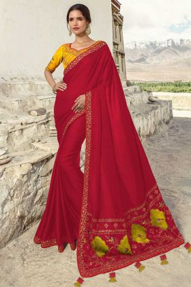 Resham Embroidery Work Red Color  Barfi Silk Wedding Saree