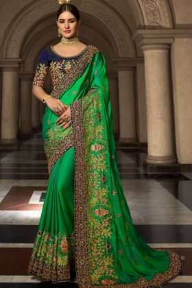 Resham Embroidery Work Soft Silk Party Wear Saree In Green Color