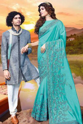 Resham Embroidery Work Turquoise Blue Art Silk Saree