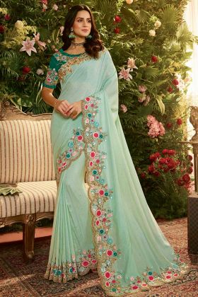 Resham Embroidery Work Turquoise Color Pure Pandora Silk and Net Party Wear Saree