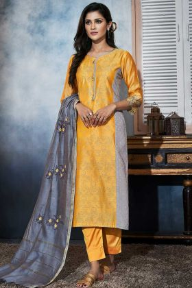 Resham Embroidery Work Yellow and Grey Color Art Silk Pant Style Salwar Suit