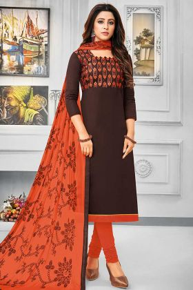 Resham Emmboridery Work Brown Color Cotton Churidar Salwar Suit