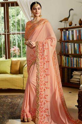 Resham Satin Designer Saree Peach Color With Heavy Zari Work