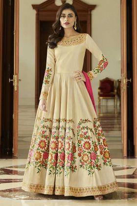 Resham Thread Embroidery Work Cream Aashirwad Mulberry Silk Anarkali Dress
