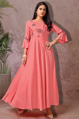 Rich Looking Latest Heavy Rayon Long Kurti In Pink Color