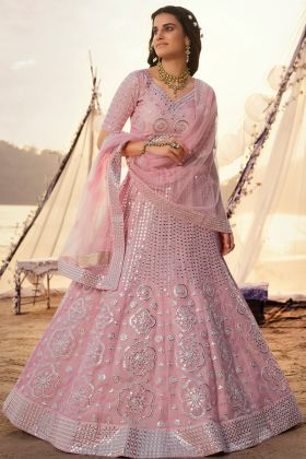 Rich Looking Organza Lehenga Choli Collection In Baby Pink Color