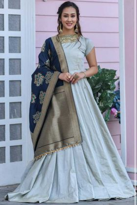 Rich Looking Steel Grey Color Tapeta Silk Heavy Dress For Her