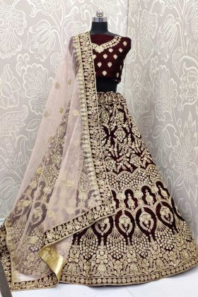 Rich and Elegant Look Dark Maroon Velvet Bridal Lehenga Choli