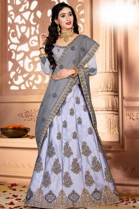 Rich Satin Silk Designer Lehenga Choli Grey Color