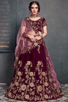 Roohbab Dori Work Party Wear Lehenga Choli Purple Color